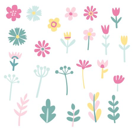 Collection of cute flowers and plants Illustration
