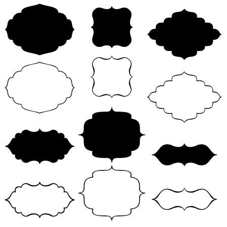 cornici decorative nere staffa Vettoriali
