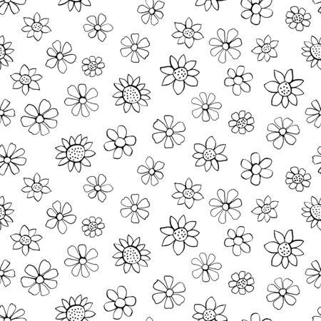 Ink doodle flowers - seamless pattern Illustration