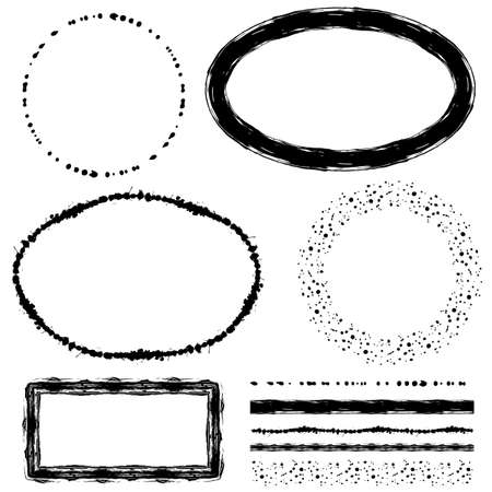 grunge frame: Collection of ink brushes and frames