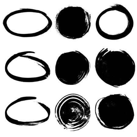 Colection of round ink frames and background Illustration