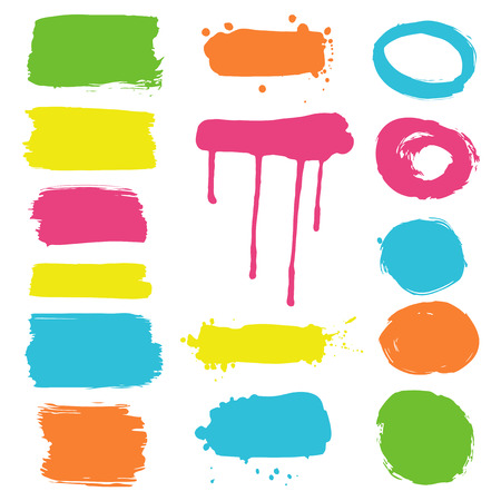Collection of ink splatters and frames - color