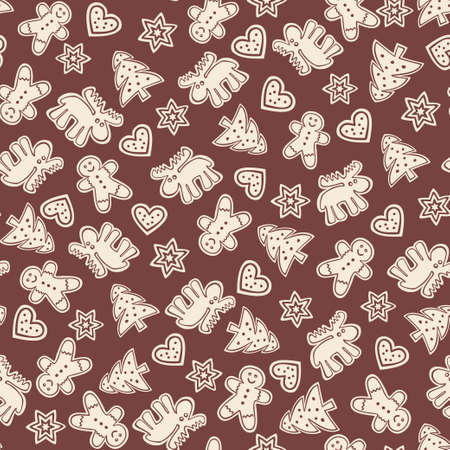 Holiday gingerbread cookies - seamless pattern