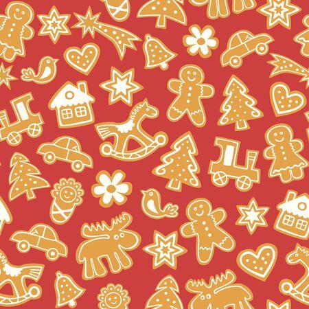 Christmas gingerbread cookies - seamless pattern