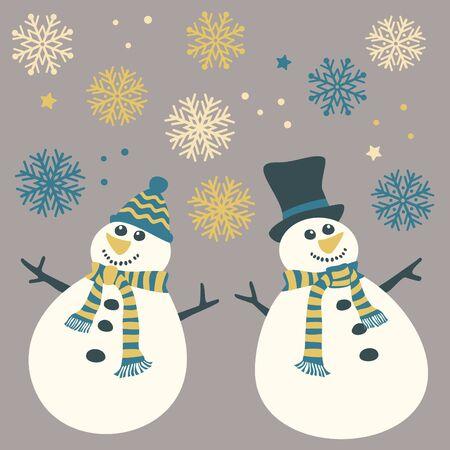 Cute snowmen and snowflakes
