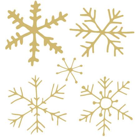 Golden hand drawn snowflakes Illustration