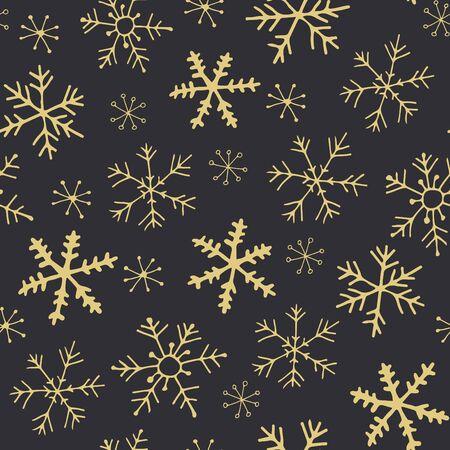 Gold snowflakes seamless pattern Illustration