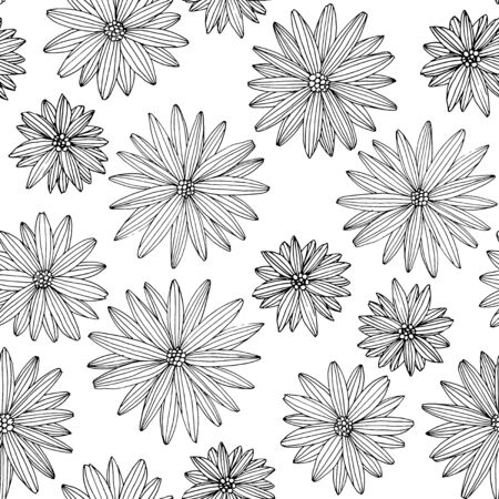 Linear floral seamless pattern