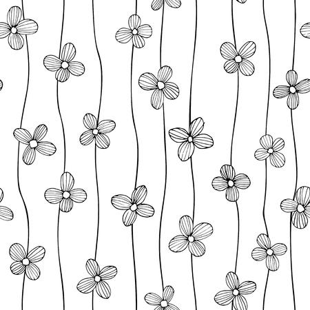 Linear flowers -  seamless pattern