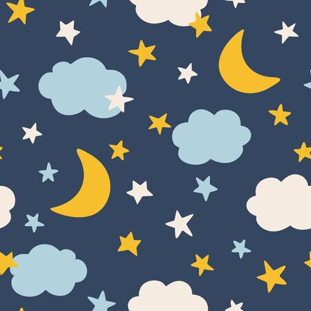 Moon and stars, seamless pattern