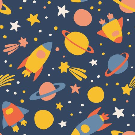 Outer space - cute seamless pattern