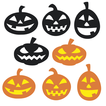 holiday tradition: Set of simple vector halloween pumpkins Illustration