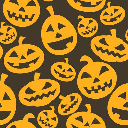 Halloween pumpkins - vector seamless pattern