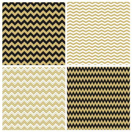 Set of golden chevron seamless patterns