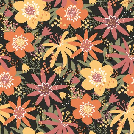 Bold flowers - vector seamless pattern