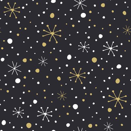 Doodle winter background - snow pattern Illustration