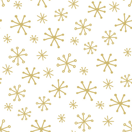 Doodle snowflakes - simple seamless pattern