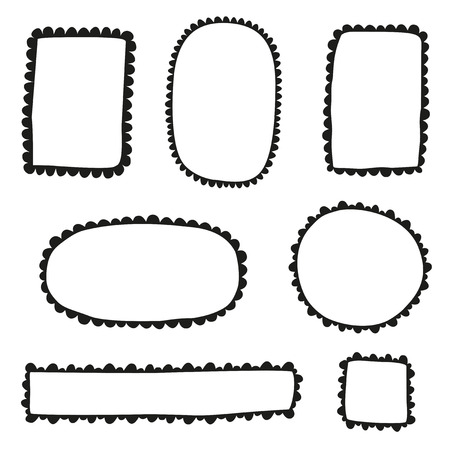 scalloped: Collection of doodle scalloped frames