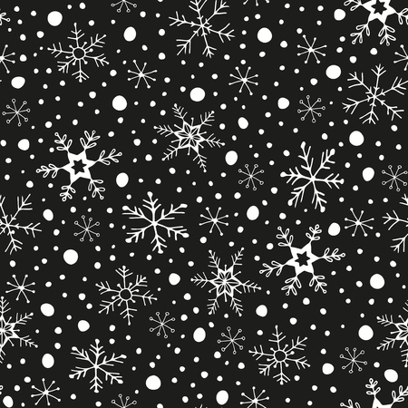 Winter seamless background - snowflakes and snow