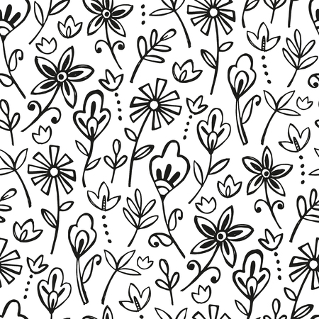 Boho decorative  flowers - seamless pattern