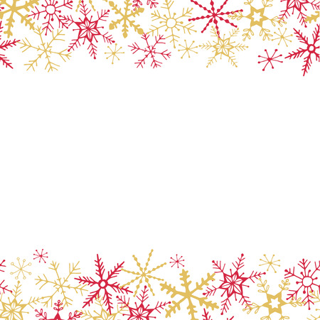 Winter seamless border - hand drawn snowflakes Illustration
