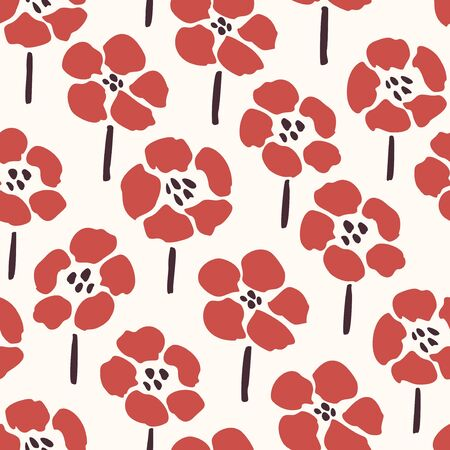 Simple red flowers - seamless pattern