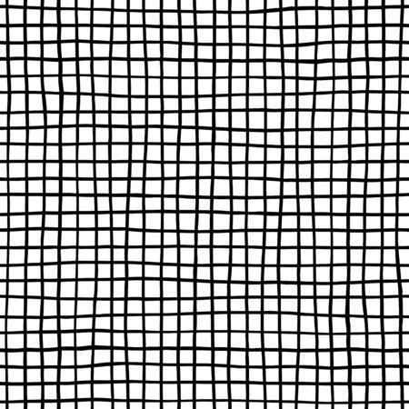 Ink lines grid seamless pattern