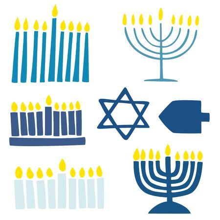 Collection of hanukkah symbols Illustration
