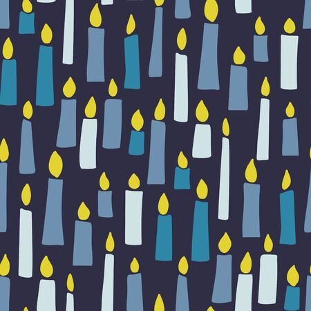 Burning candles seamless pattern