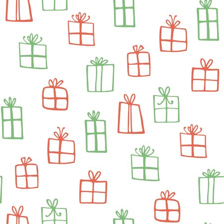 Simple doodle gifts - seamless pattern