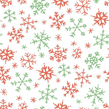 Simple drawn snowflakes seamless pattern Illustration
