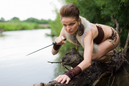 barbarian: Young savage hunt on the river