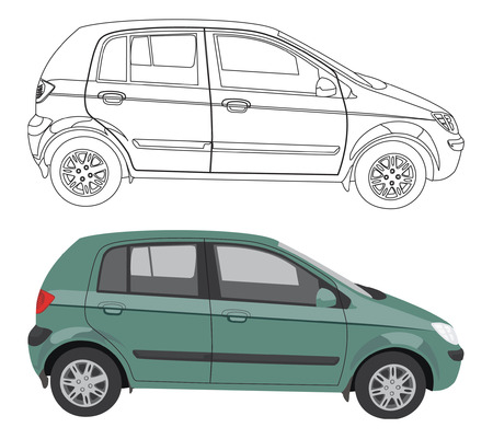 car vector: Vector car and its black contour isolated on white background without transparency and gradients