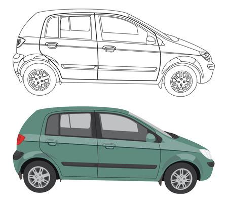 Vector de coches y su contorno negro aislado sobre fondo blanco, sin transparencia y gradientes Ilustración de vector