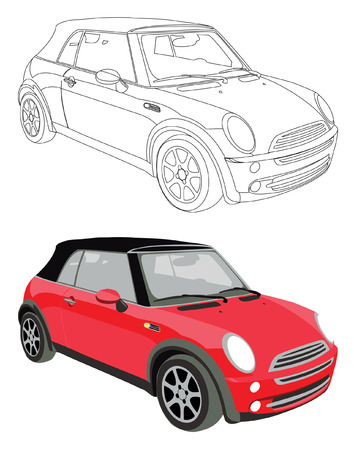 white car: Vector car and its black contour isolated on white background without transparency and gradients