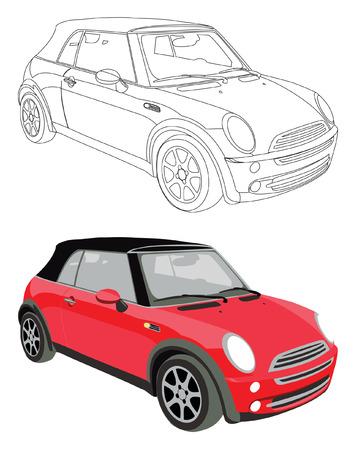 Vector de coches y su contorno negro aislado sobre fondo blanco, sin transparencia y gradientes