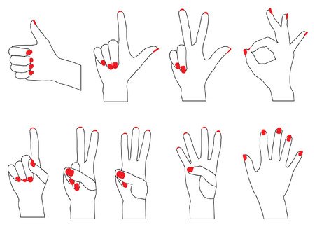 siluettes: Vector siluettes of fingers counting from 0 to 5