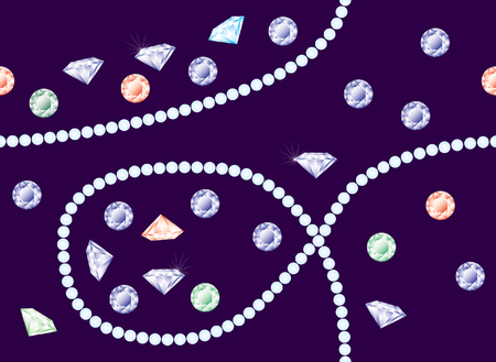 perls: Bright shining diamonds and perls, vector seamless