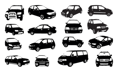 car vector: Car silhouettes isolated on white, vector illustration Illustration