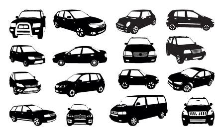 Car siluetas aisladas en blanco, ilustración vectorial