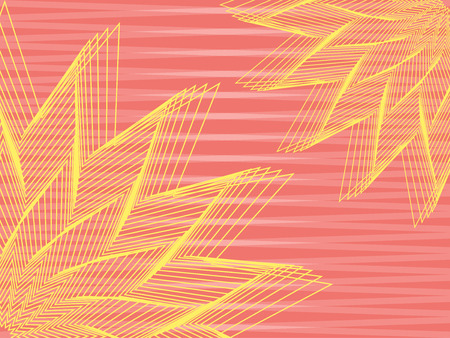stripy: vector abstract yellow flowers over pink stripy background