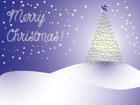 snowdrifts: christmas tree on background of starry sky and snowdrifts Illustration