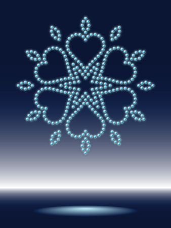 shiny snowflake made from sparkling water-drops Vector