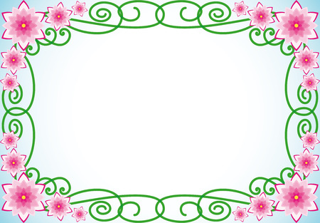 pastel background: Floral border with pink flowers and green spiral leaves