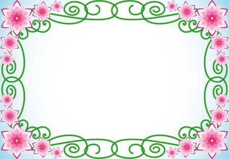 bordure floral: Floral fronti�re avec des fleurs roses et feuilles vert en spirale