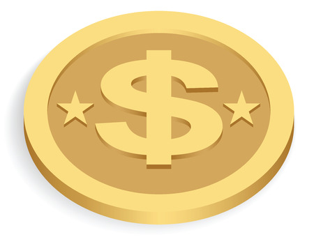 gold dollar coin isolated on white, vector illustration Vector