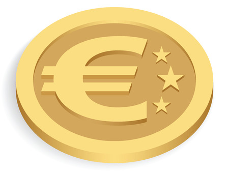 coins stack: gold euro coin isolated on white, vector illustration Illustration