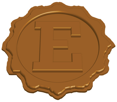 stylized sealing wax stamp with single letter, vector illustration  Vector