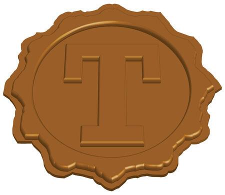 tampon cire: timbre de cire de scellement stylis� avec une seule lettre, illustration vectorielle