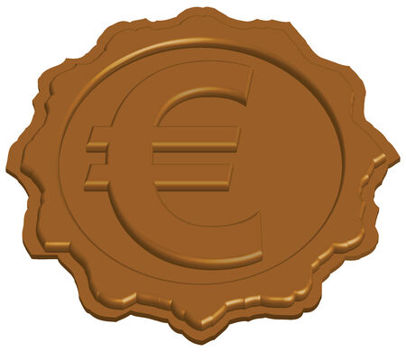 sealing: stylized sealing wax stamp with euro sign, vector illustration Illustration